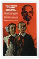 Soviet PIONEERS In School Uniform Lenin Promise Propaganda Russian Postcard - Andere Zeichner
