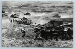WWII War Tank Attack T-34 Soldiers RKKA Real Photo RPPC Soviet Postcard - Guerra 1939-45