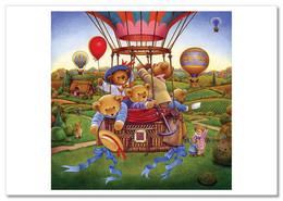 TEDDY BEAR Fly A Balloon Lanscape Funny NEW Russian Postcard - Sin Clasificación