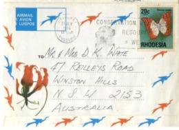 """(G 30) Rhodesia To Australia  - Written """" Lazy Letter  """"(with Stamp) Baobab Tree - Vicroria Falls Etc - Alberi"""