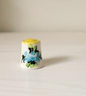 Thimble FLORAL Gzhel Hand Painted Made Solid Porcelain Russian Ethnic Souvenir - Thimbles