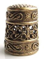 Thimble QUILT Openwork Ethnic Decor Solid Brass Metal Russian Souvenir Collection - Dés à Coudre