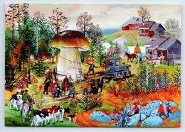 MUSHROOM Fantasy Russian Peasant City Harvest Forest Cow New Postcard - Vertellingen, Fabels & Legenden