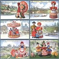 RUSSIAN FOLK ETHNIC TOYS DOLLS DYMKOVO Rare SET Of 12 New Postcards - Otros Fotógrafos