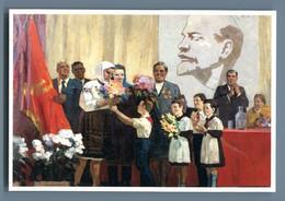 PIONEER USSR Heroes Labor SU Lenin Workers Propaganda Russian Unposted Postcard - Patrióticos