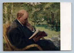 1958 LENIN Read BOOK In Garden Propaganda By Baskakov Art Vintage Postcard - Politik