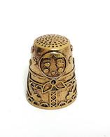 Thimble MATRESHKA DOLL Folk Ethnic Brass Metal Russian Souvenir Collectible - Ditali Da Cucito