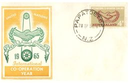 (G 27) Older FDC Cover - New Zealand - 1965 - Co-operation Year - FDC