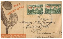 (G 27) Older FDC Cover - New Zealand - 1945 - Health - FDC