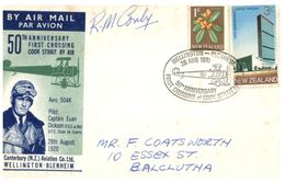 (G 27) Older FDC Cover - New Zealand - 1st Crossing Of Cook Strait 50th Anniversary (signed Cover) - FDC
