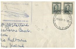 (G 27) Older FDC Cover - New Zealand To Melbourne - 1st Official Air Mail (1951) - FDC