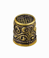 Thimble PLANT FLOWER ORNAMENT Solid Brass Metal Russian Souvenir Collection - Thimbles