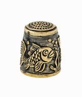 Thimble GOLDFISH Fishes Underwater Solid Brass Metal Russian Souvenir Collection - Dés à Coudre