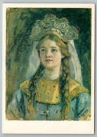 1982 RUSSIAN PRINCESS GIRL With Long Hair Ethnic By Surikov Soviet USSR Postcard - Illustratori & Fotografie