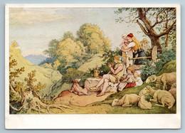 1960 Shepherd's Song Peasant Family Sheeps By Adrian Ludwig Richter DDR Postcard - Illustratori & Fotografie