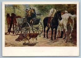 1958 LADY In HORSE CARRIAGE Dog Walk Animal By Samokish Soviet USSR Postcard - Illustratori & Fotografie