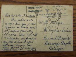 Carte Vue De Mons Oblitérée Spa En Décembre 1918+ Cachet Rectangulaire En Bleu: CROIX-ROUGE DE BELGIQUE HOPITAL VOLANT - Altri