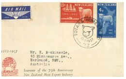 (G 27) Older FDC Cover - Posted From New Zealand To Australia - Southland Centenary (1957) - FDC