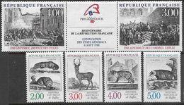 France  1988   Sc#2122a-6  Revolution Pair/strip & Natural History Set   MNH   2016 Scott Value  $9.95 - Unused Stamps
