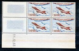 France PA  30 Mystère IV Bloc De 4 Coin Daté 11 12 1953  Neuf ** TB MNH Cote 17.5 - Poste Aérienne