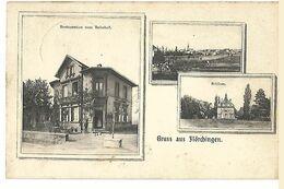 57 FLORANGE GRUSS AUS FLORCHINGEN CAFE ZUM BAHNHOF 1913 CPA 2 SCANS - France