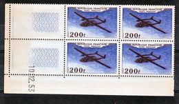 France PA  31 Noratlas IV Bloc De 4 Coin Daté 10 12 1953  Neuf ** TB MNH Cote 46 - Poste Aérienne