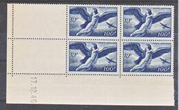 France PA  18 Egine Blocs De 4 Coin Daté 17 12 1946  Neuf ** TB MNH Cote 45 - Poste Aérienne