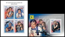 CENTRAL AFRICA 2018 **MNH SMALL 65 Years James Bond 007 Cinema Kino Film M/S+S/S - OFFICIAL ISSUE - DH1845 - Cinema