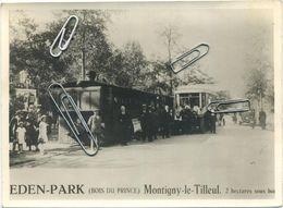 Montigny Le Tilleul - Eden Park - Tram à Vapeur - Très Animée - Photo 25 X 20 Cm - Original Ou Retirage ?   Verso Blank - Montigny-le-Tilleul