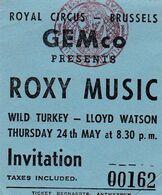 Ticket Concert Jazz Blues Rock Roxy Music - Tickets - Vouchers
