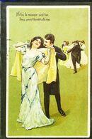 CPA   Illustration  Couple  Fin De Soirée Robe Violette   Chäle  Valse 1908 - Parejas