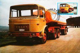 CAMION   Citerne  Roumain - Type Truck Tanker ROMAN  19 ALP  - Romania - Carte Maximum Card Timbre 1975 - Camion, Tir