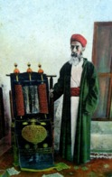 CPA JUDAISME  GRAND RABBIN SAMARITAIN ET DECALOGUE . SAMARITAN HIGHPRIEST AND SCROLL JEWISH JUDAICA  OLD PC - Judaísmo