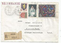 BLASON 5C AUCH+15C NEVERS +70C +60C TABLEAU LETTRE REC GRASSE 24.7.1964 POUR DDR  AU TARIF - 1941-66 Wappen