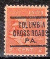 USA Precancel Vorausentwertung Preo, Locals Pennsylvania, Columbia Cross Roads 625 - United States