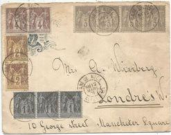 SAGE 3C GRIS BANDE DE 4+1CX3+2X2+4CX2 LETTRE ENTETE HOTEL DE NICE ALPES MARITIMES 12 MARS 1901 POUR LONDRES - Storia Postale