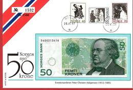 1997 Norway .Peter Christen Asbjørnsen.  FDC / Banknote 50 NOK - Noorwegen