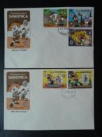 FDC (x2) Walt Disney Tom Sawyer Mark Twain Dominica 1985 - Dominica (1978-...)