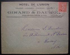 Ouzouer-sur-Trézée 1931 Hôtel De L'union (Loiret), Girard & Dauron Graines Issues, Convoyeur Auxerre à Gien - Marcofilia (sobres)