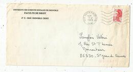 Lettre, 38 ST MARTIN D'HERES Ppal ,ISERE , 1989 , Faculté De Droit , Grenoble , 2 Scans, Frais Fr 1.55 E - Marcofilie (Brieven)