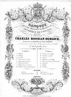 1 Carte Porcelaine   Menu  Banquet Confrérie De St.Michel  Charles Rooman Deblock Sénateur  Lith.Defferrez  GAND  1844 - Porcelaine