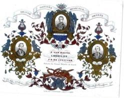 1 Carte Porcelaine Matinée Musicale  Artistes Du Grand Théatre De Gand  1844  Hôtel De Ville   Lith.Defferrez   Gand - Porzellan