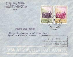 SÜD-VIETNAM - FDC 17-7-1957 3rd ANNIV Pres DIEM /ak425 - Viêt-Nam