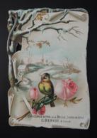 Grand CHROMO DECOUPI.  15 X 10 CM. Paysage De Neige Avec Roses Et Oiseau - Old Paper