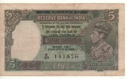 BURMA   5  Rupees    P31   King George VI   (1947) - Myanmar