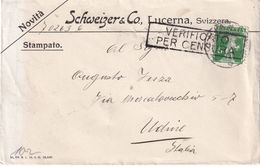 SUISSE 1916 LETTRE CENSUREE DE LUZERN POUR UDINE - Suisse