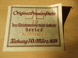 Original Prämienschein Reichswinterhilfe Lotterie 1938 - Documenten