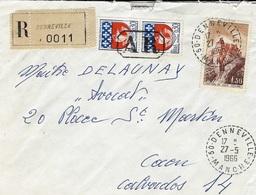 1966- Enveloppe Recc. De Denneville ( Manche ) Affr. à 1,30 + 0,60 Oblit. A R  Encadrée - Marcofilie (Brieven)