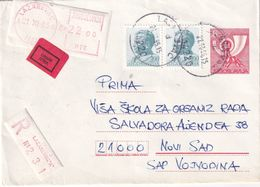 YOUGOSLAVIE 1985      ENTIER POSTAL/GANZSACHE/POSTAL STATIONARY LETTRE RECOMMANDEE EXPRES DE LAZAREVAC - Postal Stationery