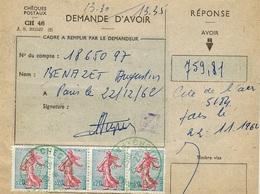 1962- Formulaire Des Chèques Postaux - DEMANDE D'AVOIR  Taxé Bande De 4 N°1233 Oblit. BLEUE - Marcofilie (Brieven)